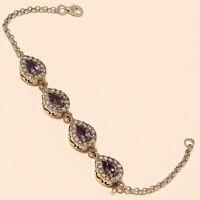 Natural Russian Purple Zircon Bracelet 925 Sterling Silver Two Tone Jewelry Gift