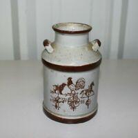 "Small Vintage Glazed Ceramic Milk Jug Crock W/ Handles - 7"" Brown & Tan"