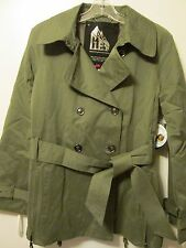 $265 G.E.T. Olive Green Military Style Water Proof Dbl Breasted Trench Sz M NWT