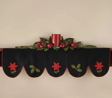 Yuletide Poinsettia Traditional Christmas Felt Applique Mantle Scarf