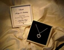 16th Birthday Gift jewellery sterling silver heart CZ necklace personalized box