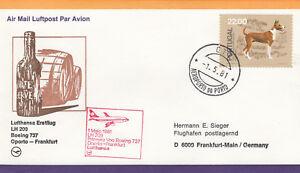 (20792) CLEARANCE Portugal Lufthansa Cover Oporto Frankfurt 1981