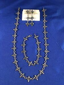Lagos Caviar Sterling Silver Fleur De Lis Necklace Bracelet Earrings Set