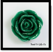 20mm Resin Rose Flower Cabochon Cameo Flatback DIY jewellery r8 - Green -2pcs