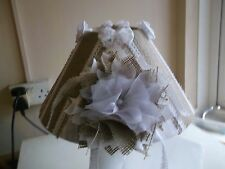 Shabby chic style decorated lampshade/ Hessian /lace/ beige/handmade/OOAK
