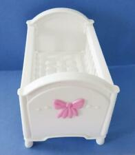 Fisher-Price Loving Family Dollhouse Baby Girl White Pink Bow Crib Bassinet Bed