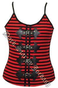 Ladies Dark Star Black & Red Striped Gothic Steampunk Cotton Vest Top Size 10-14