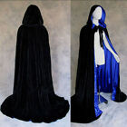 Gothic Hooded Velvet Cloak Gothic Wicca Robe Medieval Witchcraft Larp Cape AA