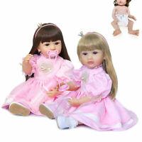 22inch Cute Full Body Silicone Doll Reborn Toddler Girl Princess Doll Bath Toy