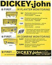 1971 small Print Ad of Dickey-John Planter & Combine Tractor Monitor Dj7 Dj49T