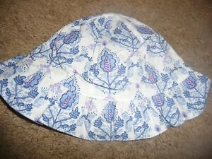 NEW Childrens Place girls 6-12 month blue floral reversable sunhat chin strap