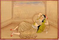 Hand Painted Indian Miniature Old Painting Mughal Queen Gouache Artwork On Paper