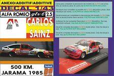 ANEXO DECAL 1/43 ALFA ROMEO GTV CARLOS SAINZ 500 KM. JARAMA 1985 (07)