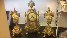 HERMLE MANTEL CLOCK SET or GARNITURE chiming on 2 bells GILT METAL & PORCELAIN