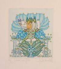 """Art contemporain XXe s. Eau-forte couleurs surréaliste """"Comme une fleur"""" 100 ex."""