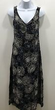 Old Navy Woman's Dress Size 2 Full Length Floral Blue White Black