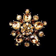 Handmade Brown 3.5cm Swarovski Elements Antique Gold Vintage Crystal Brooch 01J