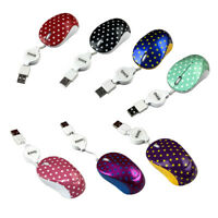 Retractable Cable 2.4GHZ Polka Dot Gloss Cute Mouse Mice For PC Laptop Colorful