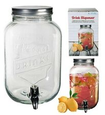 3.5L Vintage Barrel Glass Drink Dispenser Jar With Tap Punch Water Juice Party
