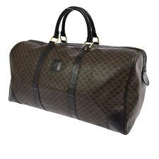 Auth CELINE Macadam Pattern Travel Hand Bag Brown PVC Leather Vintage BT12369
