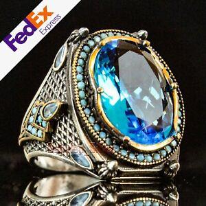 925 Sterling Silver Aquamarine Stone Turkish Handmade Luxury Men's Ring All Size