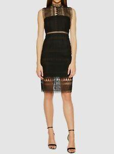 $325 Bardot Womens Black Mock-Neck Sheer Lace Back-Zip Sheath Dress Size US 10/L