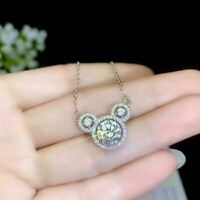 2Ct Round Cut Moissanite Mickey Mouse Pendant 14K White Gold Finish Free Chain