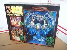 3 in 1 Glow in the Dark Jigsaw Puzzles-DRAGONSTORM, DRAGONS FIRE, WIZARD KING