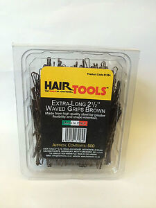 HAIR TOOLS EXTRA-LONG 2 1/2 INCH WAVED BROWN GRIPS 500 BOX