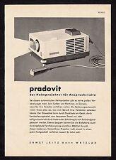 3w1685/vecchia pubblicità con loghi di 1960-Proiettore Diapositive Pradovit dalla casa LEITZ