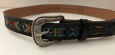 Tombstone Embroidered Black South Western Belt Silvertone Etched Buckle Size 12