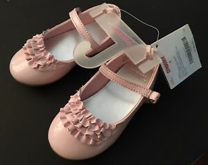 NWT Gymboree Tres Fabulous Sz 7 Pink Faux Patent Leather Ruffle Shoes for 2T