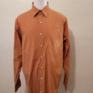 BROOKS BROTHERS MEN'S ORANGE STRETCH COTTON BLEND DRESS SHIRT SIZE 16.5-36/37