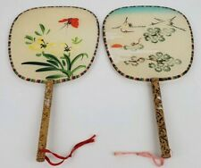 (2) Vintage Oriental Floral Birds Butterfly Wooden Handle Silk Paddle Hand Fans