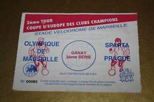 TICKET - OM MARSEILLE / SPARTA PRAGUE - COUPE EUROPE C1 1991/92