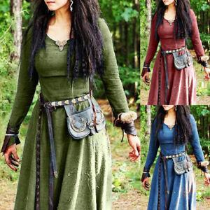 Medieval Renaissance Women Retro Long Dress Carnival Party Fancy Dress Costume