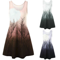 Women Tops Print Sleeveless O Neck Shirt Casual Vest Tank Summer Beach Blouse AU