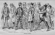 STOCK MARKET BROKERS 1858 ANTIQUE ENGRAVING STOCKS UP STOCKS DOWN