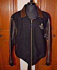 Men's Whitetails Unlimited Varsity Bomber Jacket Wool Leather Black Size 2XL