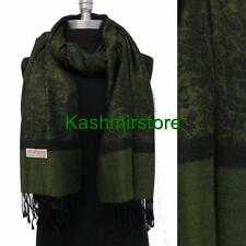New Paisley Pashmina Silk Cashmere Shawl Scarf Stole Wrap Soft Green/black #P304