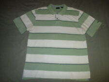 IZOD Men's XL Green & White Stripe Polo Rugby Golf Shirt Extra Large NWOT Cotton