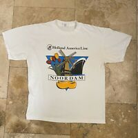 Vintage Holland America Line Cruise T-Shirt 90s Size Large Single Stitch Clogger