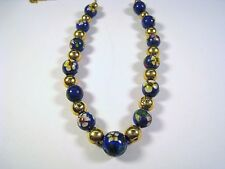 LADIES VINTAGE 14k YELLOW GOLD BEAD/CHAIN & CLOISONNE BEAD NECKLACE