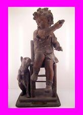 French Antique art bronze FIGURINE Girl & Dog sculpture 1800's signed DESSACORD