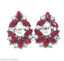 Earrings Tear Drop Rhinestone Red & Clear Design Pierced Costume Jewellery Ea10