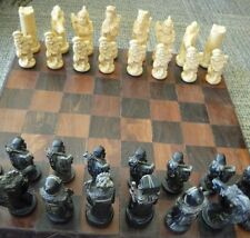 Vintage Complete Set of Hand Crafted Resin Large Oriental Chess Pieces