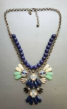 """Charming Charlie Navy Pink Jade Colored Rhinestone Statement Necklace 20"""""""