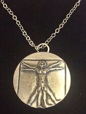 """VITRUVIAN MAN DR44 Made From Fine Pewter On 24"""" Silver Plated Curb  Necklace"""