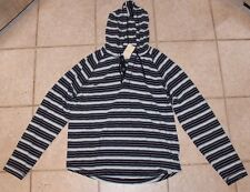 NWT Lucky Brand Mens Size XL Long Sleeve Hooded Quarter Button Stripe Tee