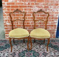 Pair Of French Antique Walnut Louis XV Upholstered Chair